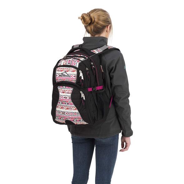 High Sierra Swerve Backpack in the color Black/Macrame/Razzmatazz.