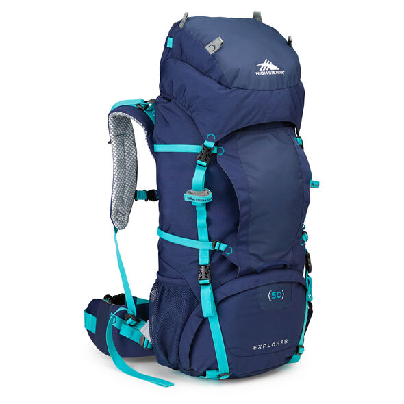 High Sierra Classic 2 Series Explorer 50W Frame Pack in the color True Navy/Tropic Teal.
