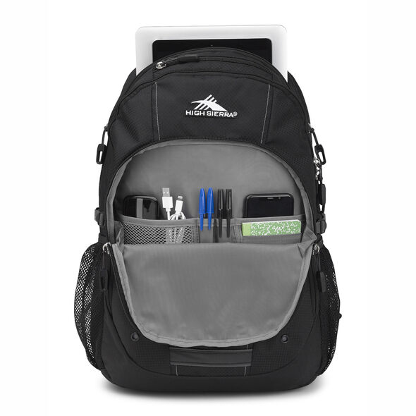 High Sierra Zestar Backpack in the color Black/Slate Grey.