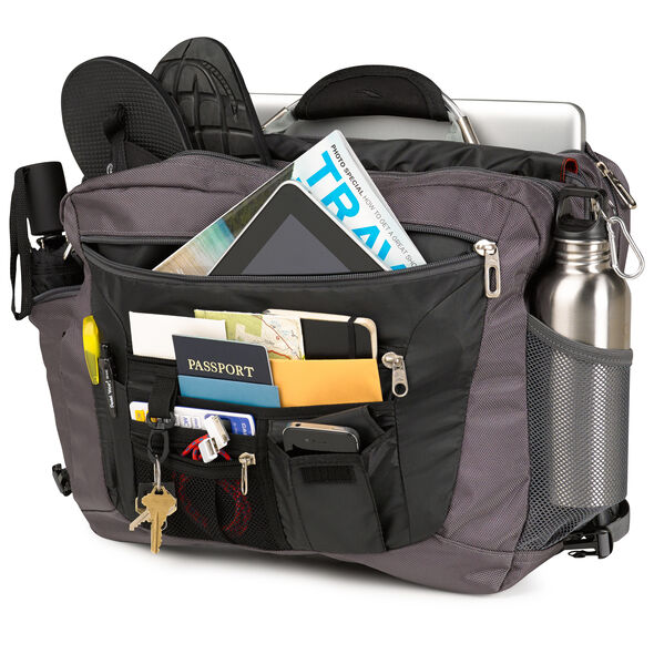 High Sierra XBT TSA Messenger in the color Charcoal/Lava/Silver/Blk.