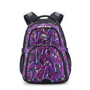 High Sierra Swerve Backpack in the color Rainforest/Black/Deep Purple.