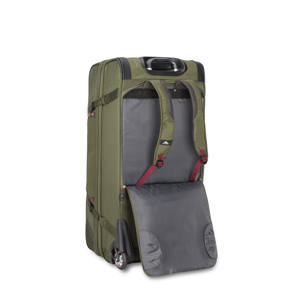"High Sierra AT8 32"" Wheeled Duffel Upright in the color Olive/Cranberry."