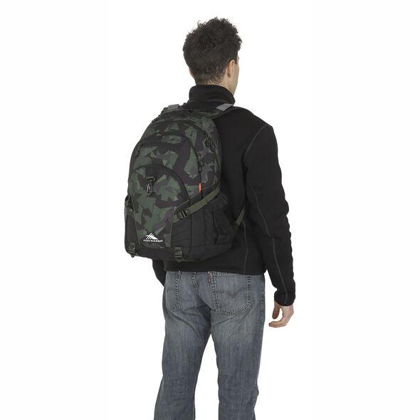 High Sierra Loop Backpack in the color Shattered Camo/Black/Olive.