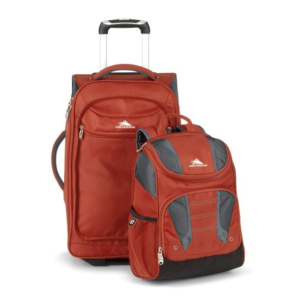 High Sierra Prime Access Carry On Wheeled Backpack in the color Lava/Mercury/Charcoal.