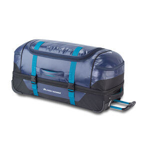 "High Sierra Kennesaw 30"" Drop-Bottom Wheeled Duffel in the color True Navy/Black/Sea."