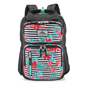 Mindie Backpack in the color Tropical Stripe/Black/Aquamarine.