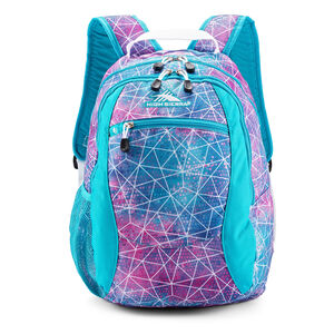 Curve Backpack in the color Sequin Facet/Bluebird/White.