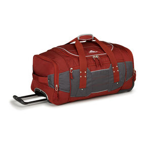 "High Sierra Ultimate Access 2.0 26"" Wheeled Duffel in the color Brick Red/Mercury/Silver."