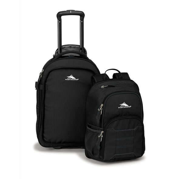 High Sierra Ultimate Access 2.0 Carry-On Wheeled Backpack with Removable Daypack in the color Black.