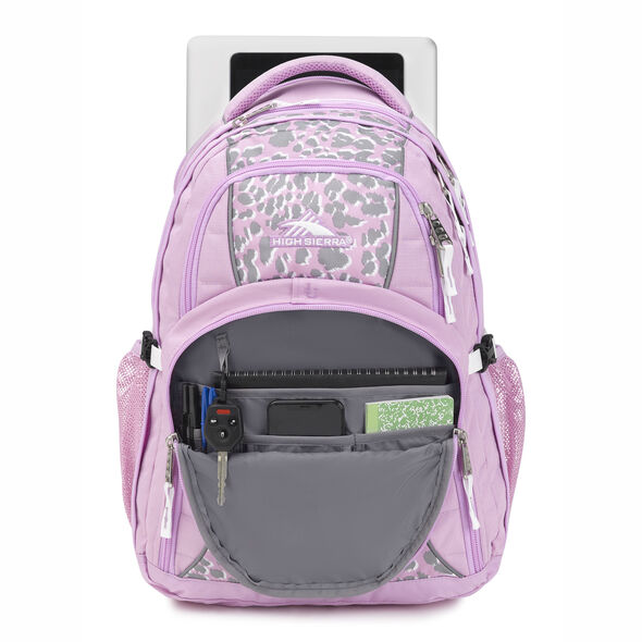 High Sierra Swerve Backpack in the color Shadow Leopard/Iced Lilac/White.