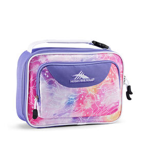 High Sierra Single Compartment Lunch Bag in the color Unicorn Clouds/Lavender/White.