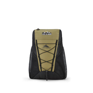 Life Is Good by High Sierra Pack-N-Go Backpack in the color Fatigue Green/Black.