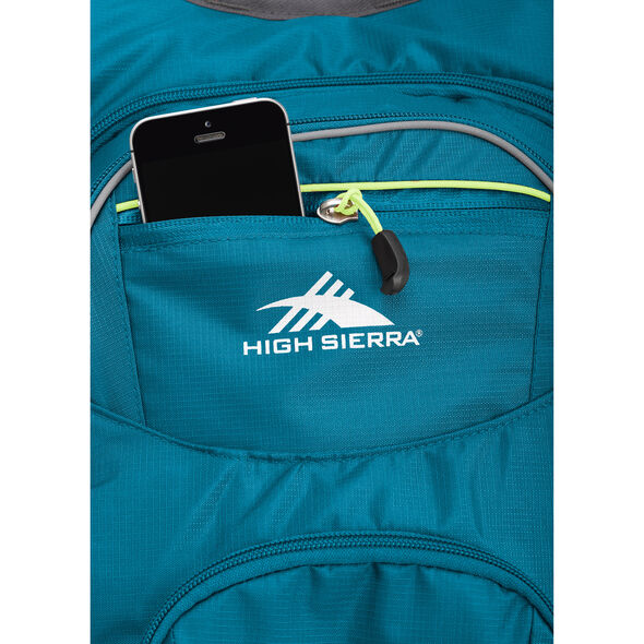 High Sierra HydraHike 16L Pack in the color Lagoon/Slate/Zest.