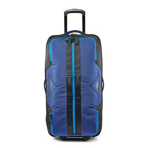 "Dells Canyon 34"" Wheeled Duffel in the color True Navy/Black/Sports Blue."