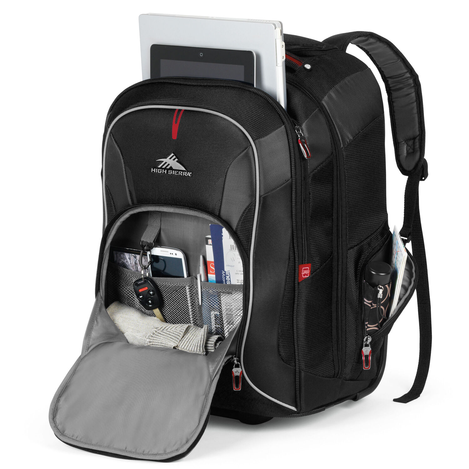 9ee938415 High Sierra AT7 Wheeled Computer Backpack in the color Black.