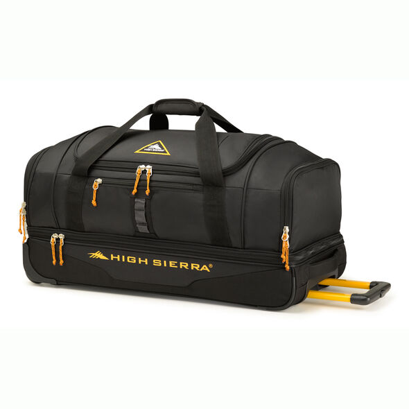 """High Sierra Pathway 28"""" Wheeled Drop-Bottom Duffel in the color Black/Gold."""