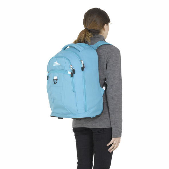 High Sierra Drydin Wheeled Backpack in the color Tropic Teal/White.