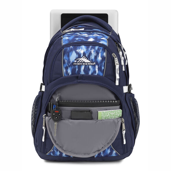 High Sierra Swerve Backpack in the color Island Ikat/True Navy.