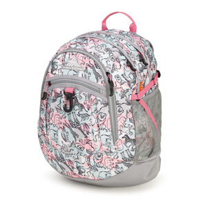 High Sierra Fat Boy Backpack in the color Safari/Ash/Pink Lemonade.