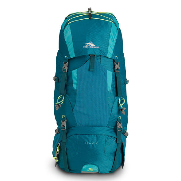 High Sierra Tech 2 Series Womens Hawk 45 Frame Pack in the color Sea/Tropic Teal/Zest.