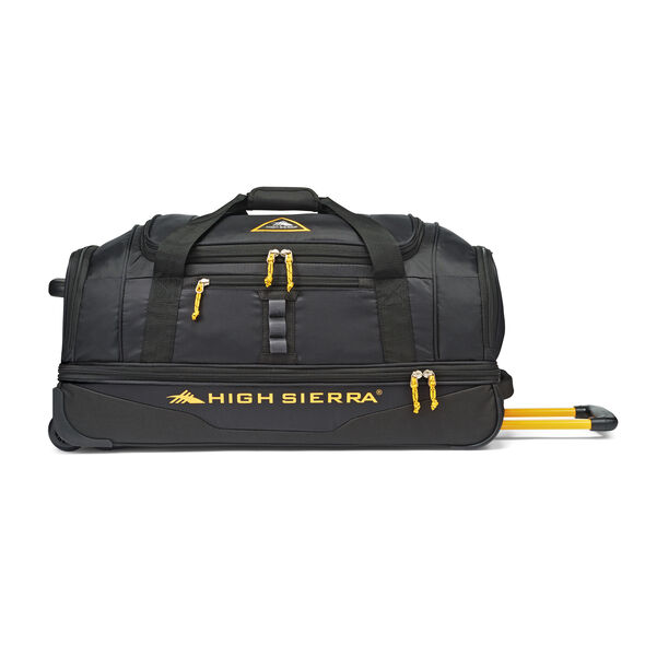 "High Sierra Pathway 28"" Wheeled Drop-Bottom Duffel in the color Black/Gold."