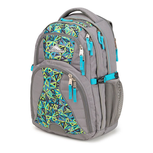 High Sierra Swerve Backpack in the color Electric Geo/Charcoal/Tropic Teal.