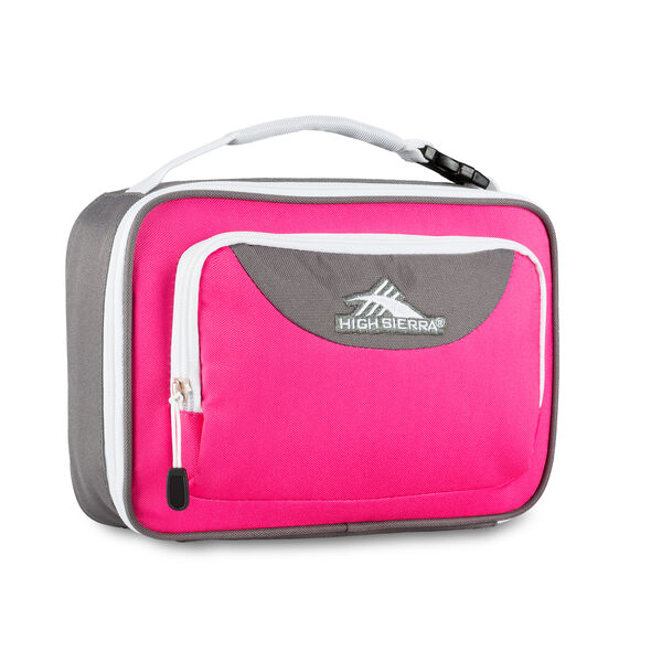 High Sierra Single Compartment Lunch Bag in the color Flamingo/Charcoal/White.