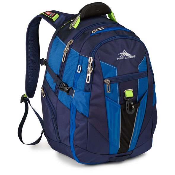 High Sierra XBT Daypack in the color Navy/Cobalt/Chartreuse.