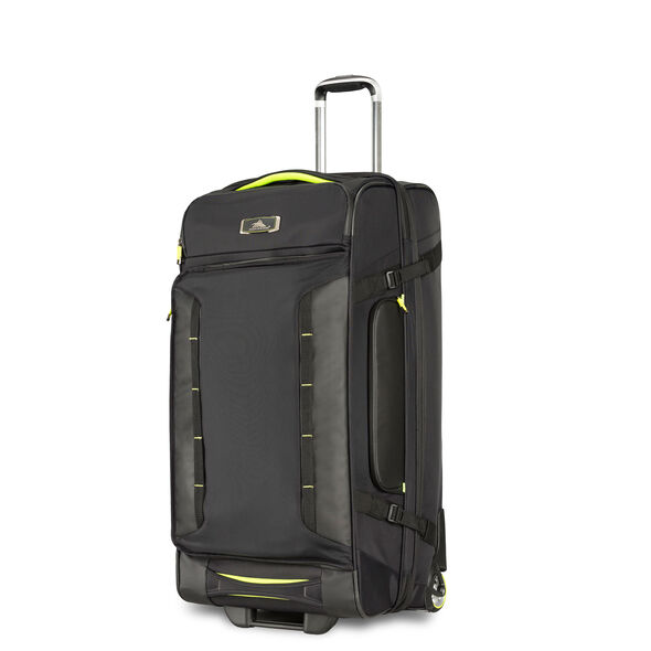 """High Sierra AT8 32"""" Wheeled Duffel Upright in the color Black Zest."""