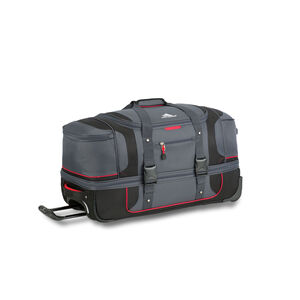 "Cermak 26"" Wheeled Drop-Bottom Duffel in the color Mercury/Black/Crimson."