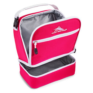 Stacked Compartment Lunch Bag in the color Pink Punch/White.