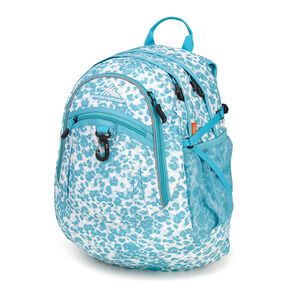 High Sierra Fat Boy Backpack in the color Tropic Leopard/Tropic Teal.