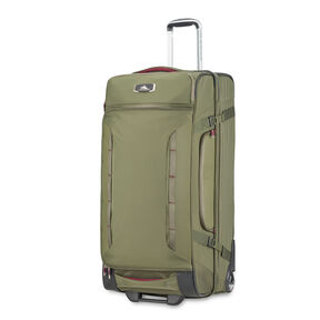 """High Sierra AT8 32"""" Wheeled Duffel Upright in the color Olive/Cranberry."""