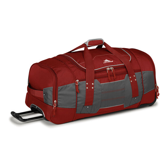 "High Sierra Ultimate Access 2.0 30"" Wheeled Duffel in the color Brick Red/Mercury/Silver."