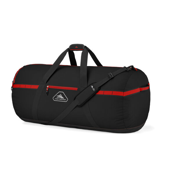 """High Sierra Packed Cargo Duffles 36"""" Large Duffel in the color Black/Crimson Red."""