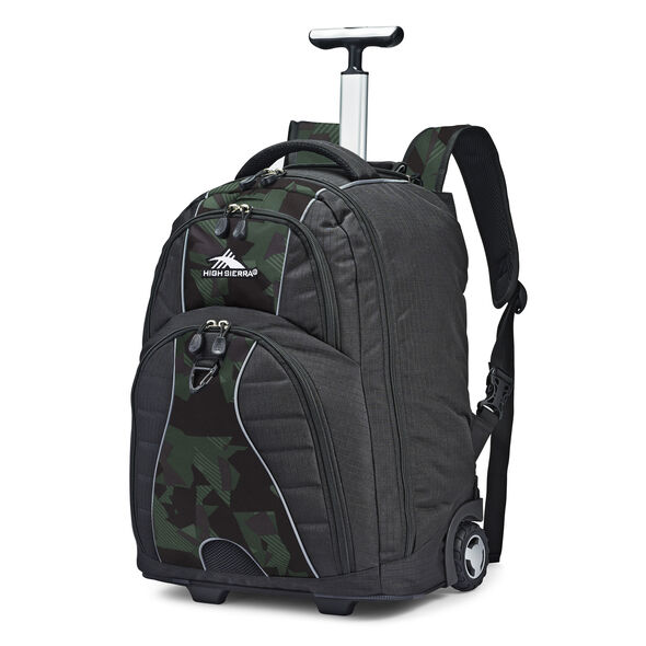 High Sierra Freewheel Wheeled Backpack in the color Black/Shattered Camo.
