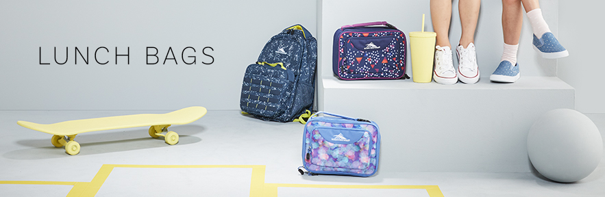 Lunch bags in the same fun colors and patterns that you can match any backpack from High Sierra.